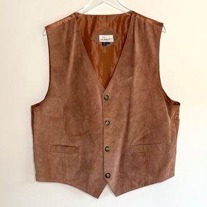 Men's Genuine Suede Leather Vintage Vest in Rust